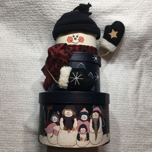 Holiday Snowman 3-tier Stackable boxes